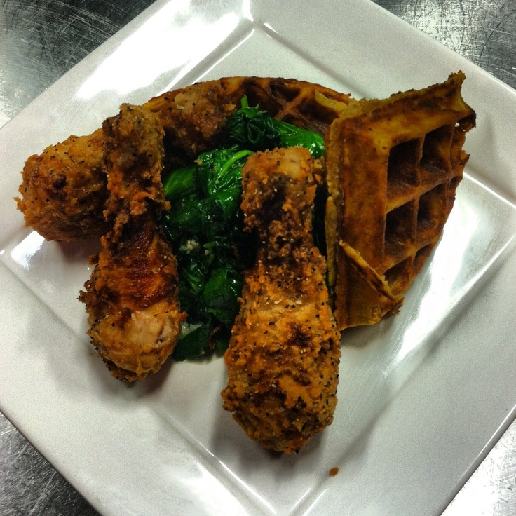 Chicken and waffles. Fried chicken, sweet potato waffle, and chipotle ...