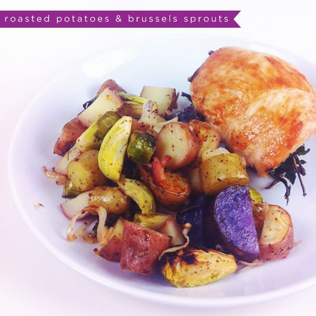 paleo roasted potatoes & brussels sprouts with bacon, mustard ...