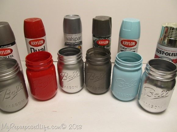 spray painted ball mason jars diy pinterest. Black Bedroom Furniture Sets. Home Design Ideas