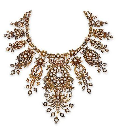 antique diamond necklace, circa 1880