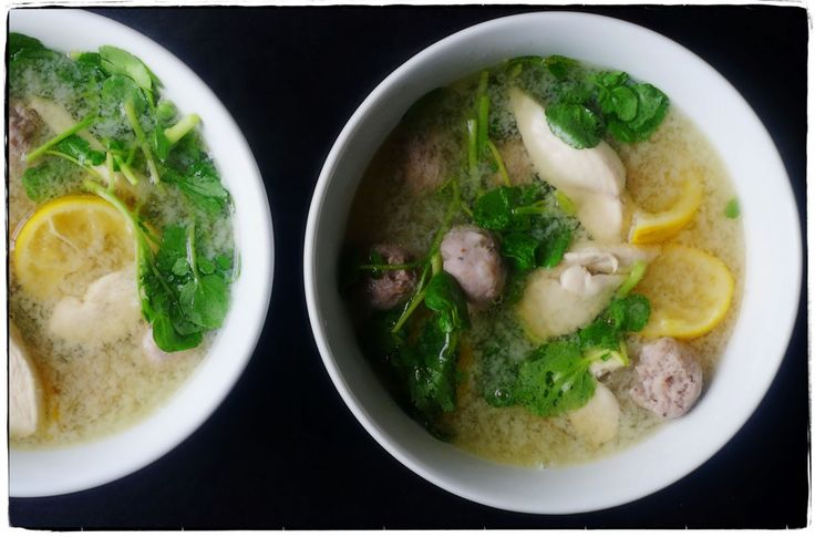 ... chicken, and polpettine in Meyer lemon-infused chicken broth for lunch