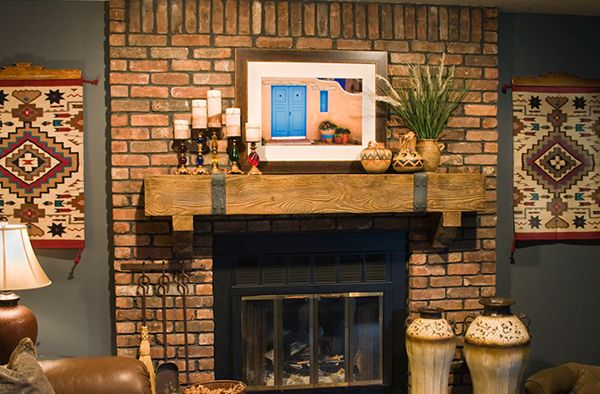 Pin by rick herod on red brick fireplace decor pinterest Brick fireplace wall decorating ideas