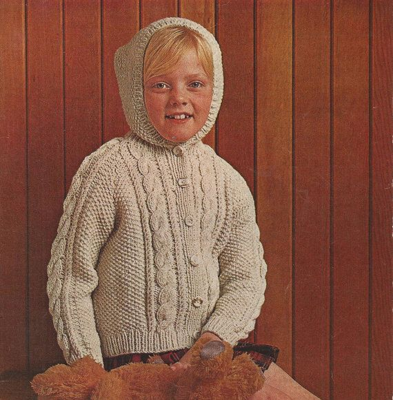 Knitting Pattern For Cardigan With Hood : PDF Knitting Pattern Childrens Aran Hooded/Jacket/Cardigan ...