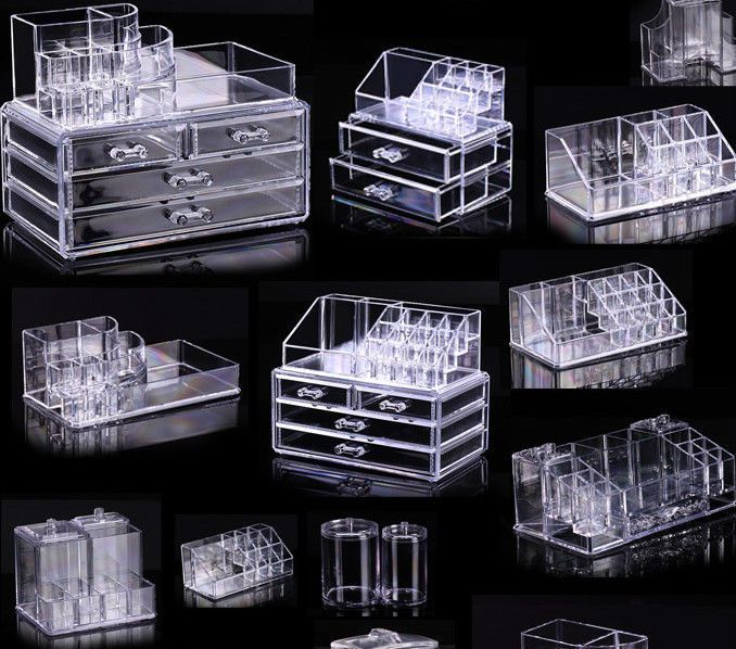 Cosmetic organizer makeup drawers Display Box Acrylic Clear Cabinet ...