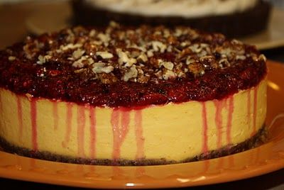 Mandarin Orange Cheesecake on a Pecan Ginger Crust with a Cranberry ...