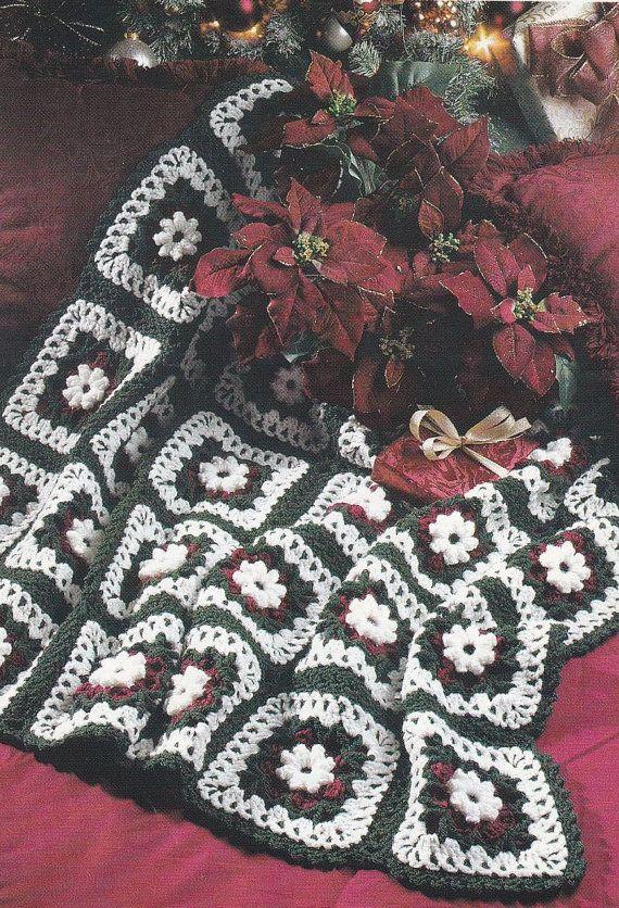 Crochet Afghan Patterns Christmas : Christmas Afghan Crochet Pattern - Holiday Rose Afghan ...