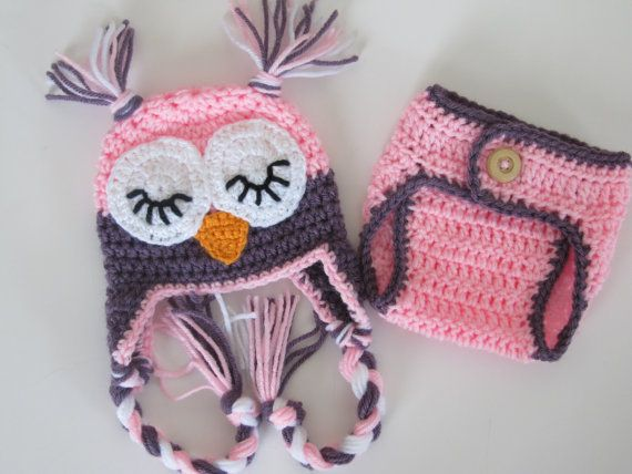Free Crochet Owl Hat And Diaper Cover Pattern : Crochet Sleepy Owl Baby Hat And Diaper Cover set-Photo Prop-