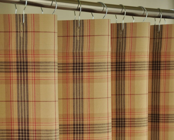 plaid shower curtain etsy bathroom stuff pinterest