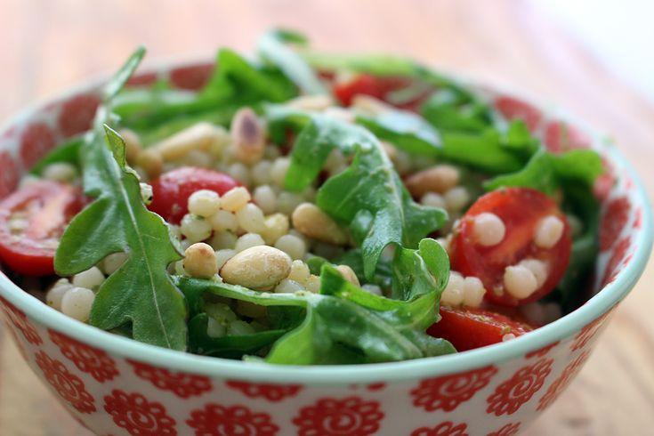 Israeli Couscous, Cherry Tomato, Arugula Salad with Basil Pesto ...