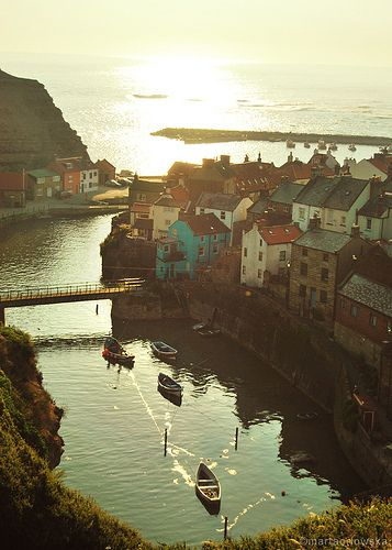 Staithes, a seaside village in North Yorkshire, England, by the North Sea