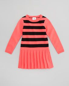 Striped Knit Sweater Dress, Fluorescent Melon/Black, Sizes 8-10
