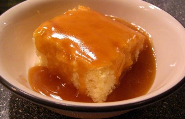 Classic Cottage Pudding with Brown Sugar Sauce...my Gram used to make ...