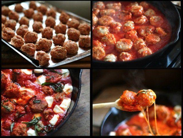 Turkey Meatballs in Spicy Tomato Basil Sauce with Fresh Mozzarella ...