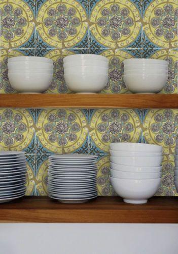 Unique rare vintage kitchen tile wallpaper 1950 39 s blue for Blue kitchen wallpaper