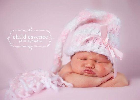 Knitting loom pattern baby girl elf hat pink white stripes ...