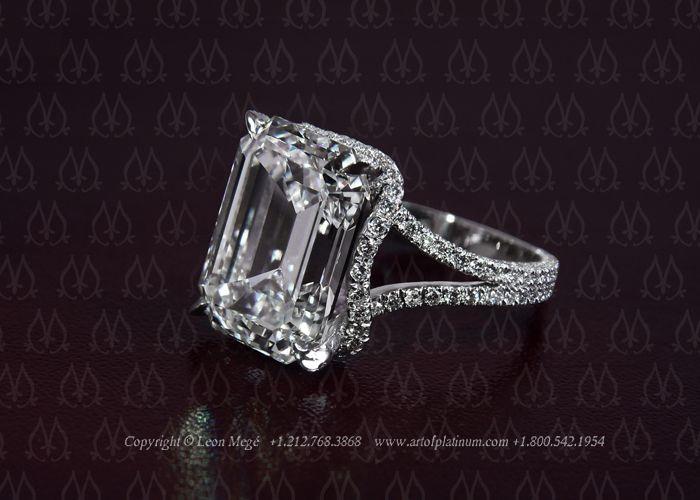 Emerald cut diamond engagement ring by Leon Mege
