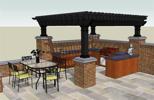 Outdoor kitchen design w slated roof doing it myself for Outdoor kitchen roof structures