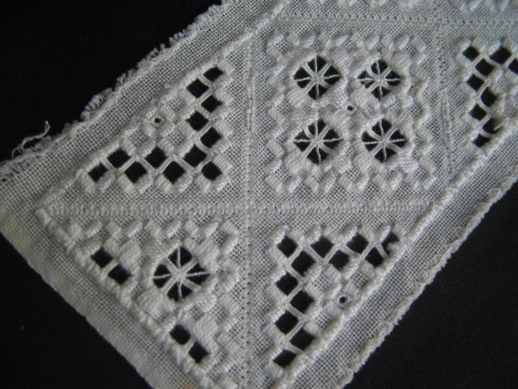 Antique Hardanger Embroidered Lace Trim Edging for Clothes Dolls or Crafts. $16.00, via Etsy.