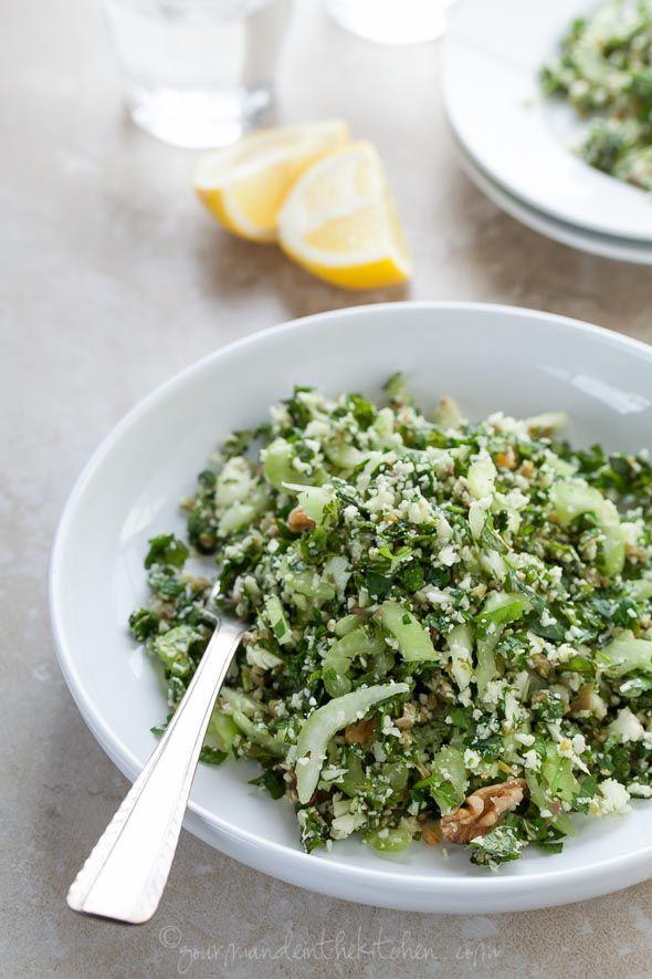 ... paleo Cauliflower Tabbouleh with Green Olives (Grain Free, Vegan, Ra