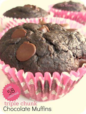 Low Calorie Triple Chocolate Chunk Muffins / Six Sisters' Stuff | Six ...