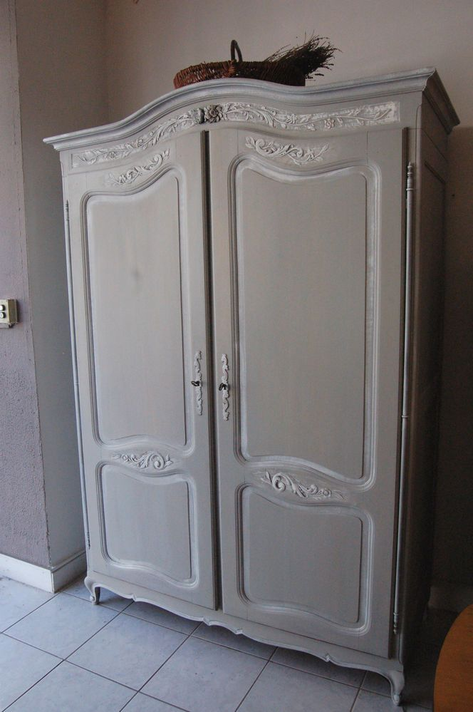 Armoire patinée style louis XV ancienne 2 portes penderie chêne ...
