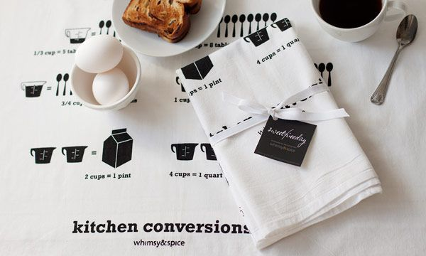 Whimsy and Spice. I need these tea towels. or I just need these conversions tattooed on my forearm. love