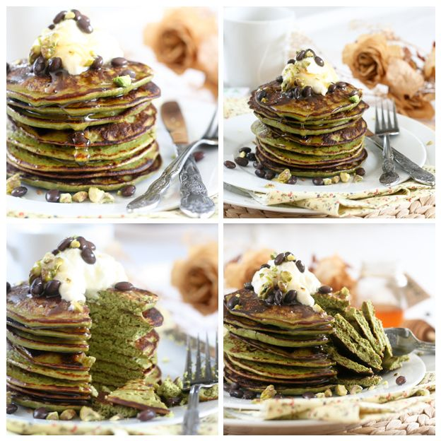 What is a life without pancakes ?! Matcha Green Tea Coconut Pancakes