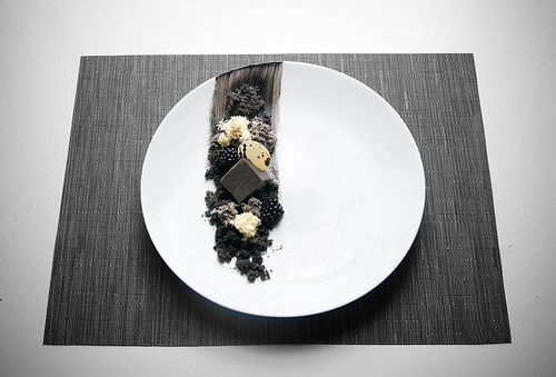 ... black + white dessert plate? made of white chocolate and sesame 3 ways