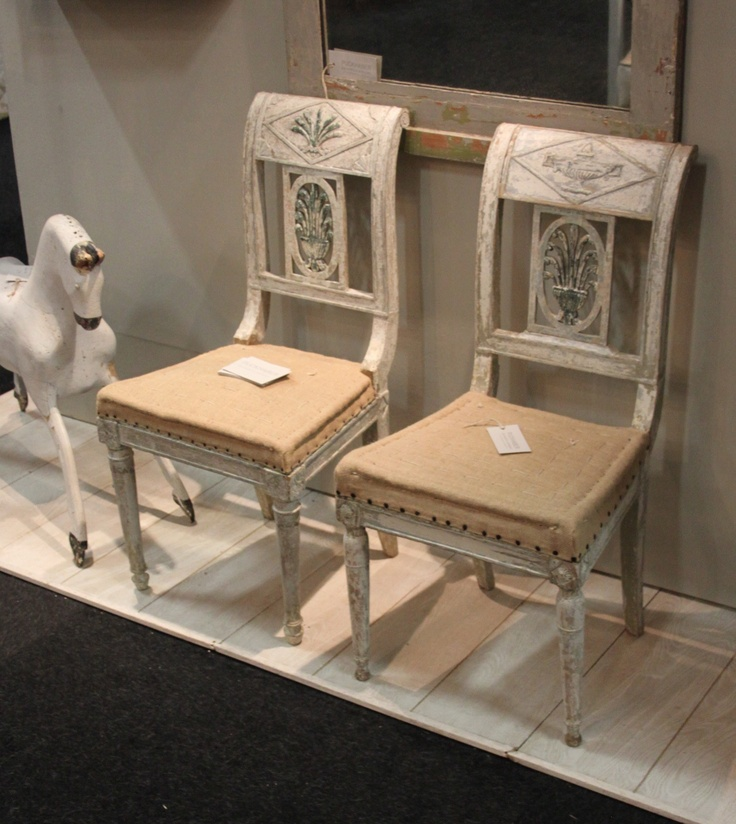 To make furniture look old and beautiful, study antiques to mimic the finishes. Circa 1820 Empire, not quite matched pair, have been scraped to their original paint. via Henhurst Interiors.
