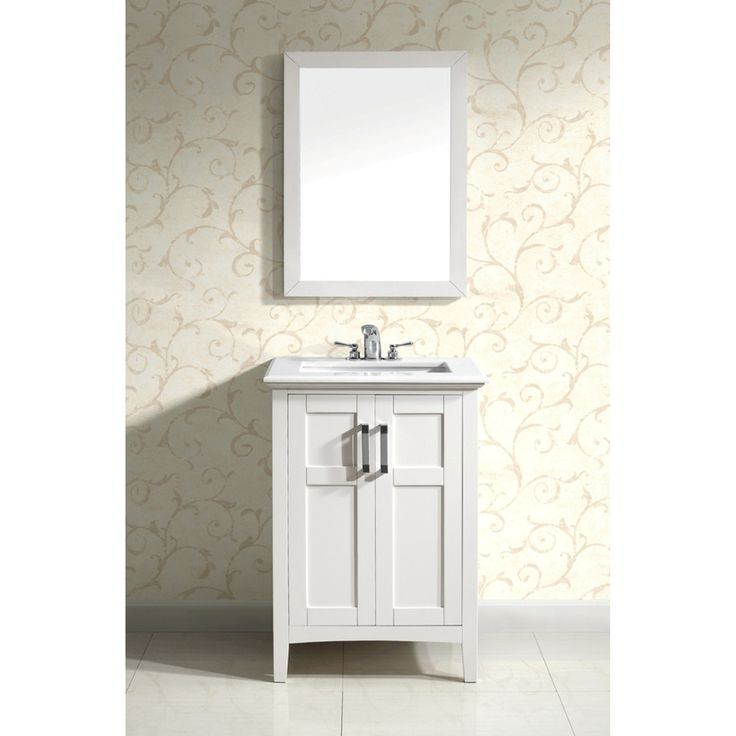 salem white 24 inch bath vanity with 2 doors and white marble top