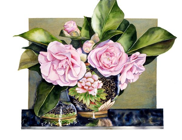 Sally Robertson - Pink Camelia in watercolour