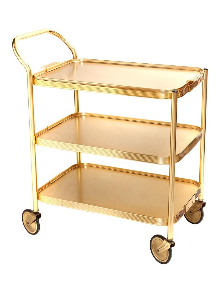 Vintage Gold Bar Cart  I want this.