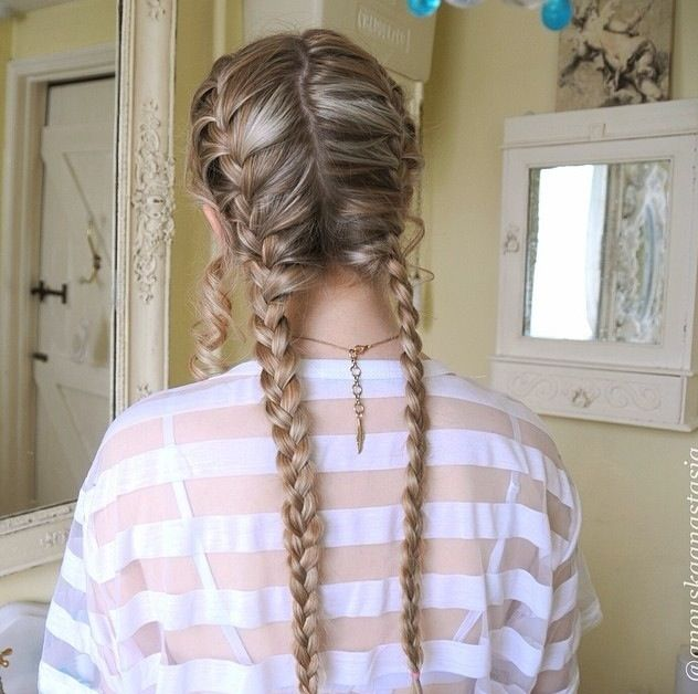 Two french braids hair pinterest