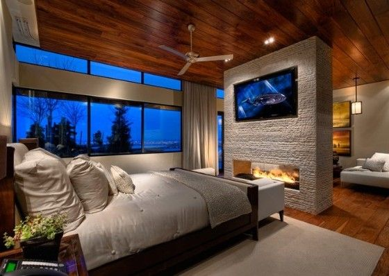 Wall mounted TV and Fireplace