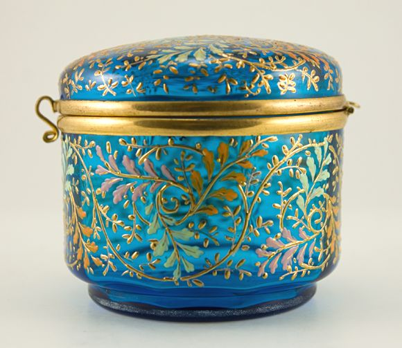 Art Nouveau hinged dresser box by Moser Glass company..