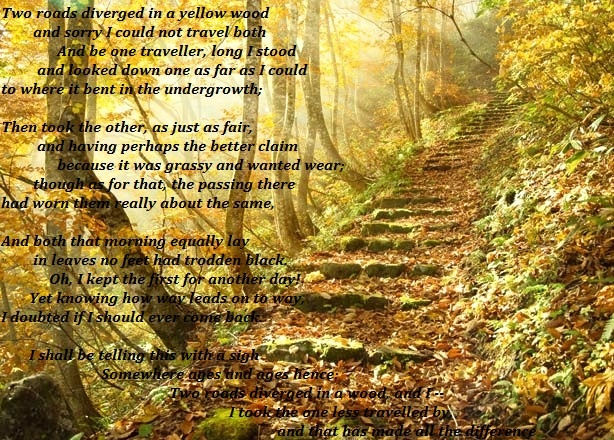 "robert frost the road not taken thesis Poetry essay outline for ""the road not taken"" by: robert frost introductory paragraph topic sentences: robert frost bet only one out."