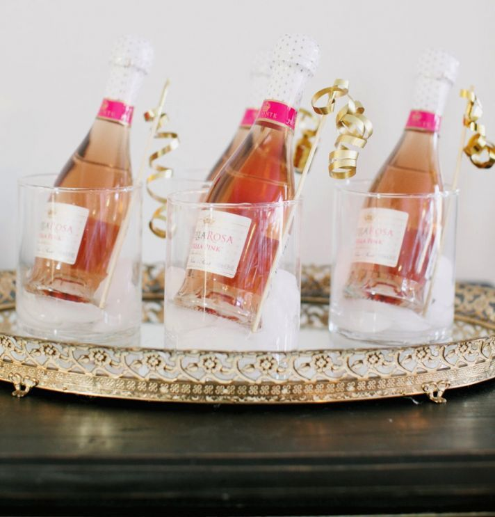 Mini Rose Champagne Wedding Guest Favors Take My Breath Away Wedding Day