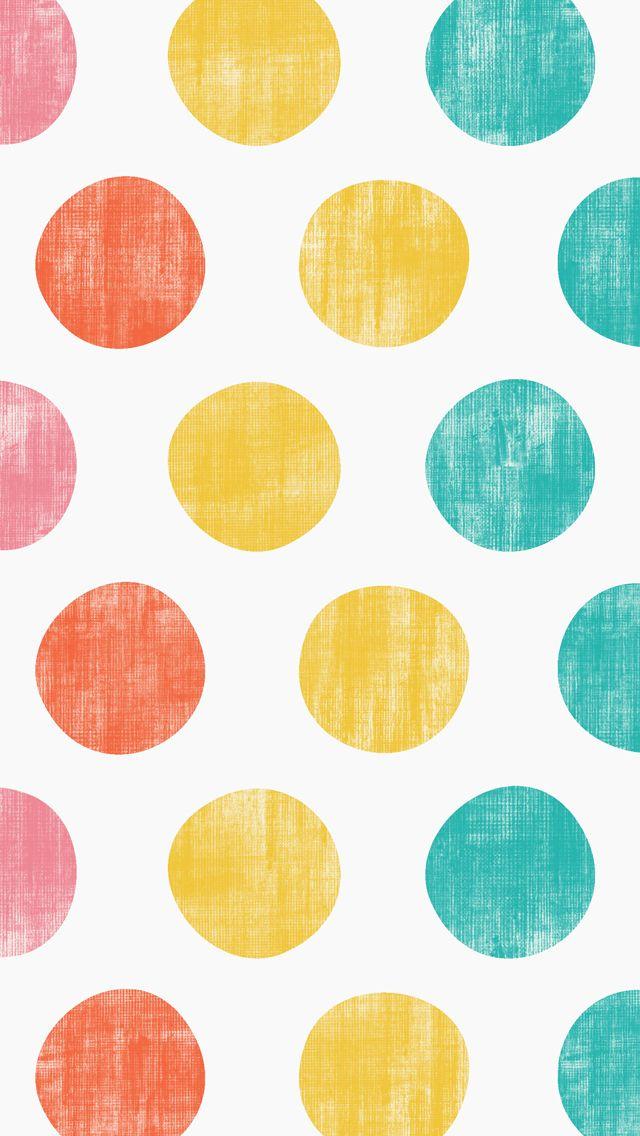 iphone 5 wallpaper - Polka Dots  #pink #orange #yellow #teal #pattern