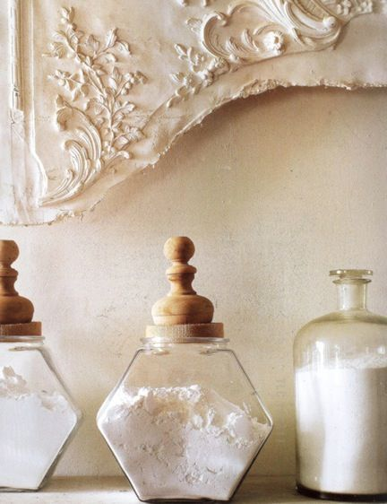beautiful glass & wooden containers for kitchen or bath