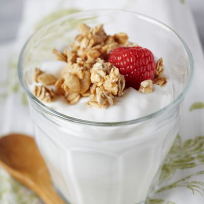 Nonfat Greek Yogurt  I eat this daily! Great source of Protein! One 3/4 cup serving has only 120 calories with a whopping 18g of protein!
