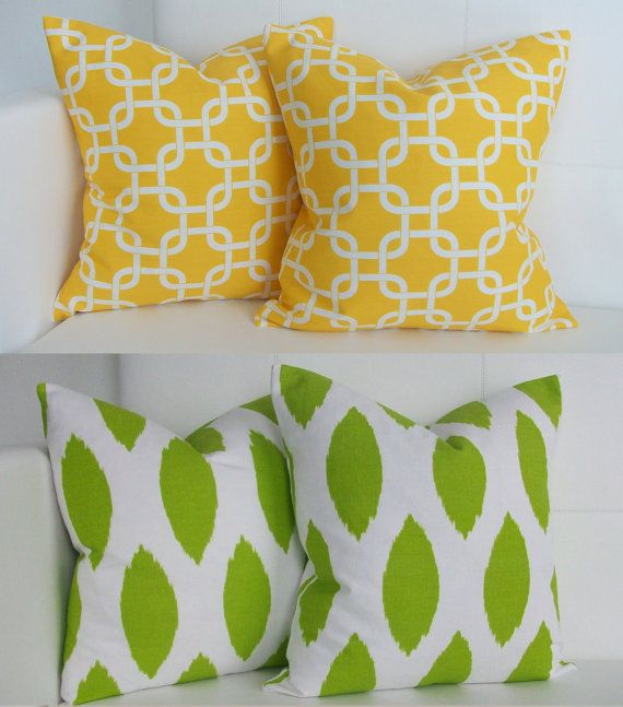 Green and Yellow Decorative Decor Throw Pillow Covers for Accent Pillows 16x16
