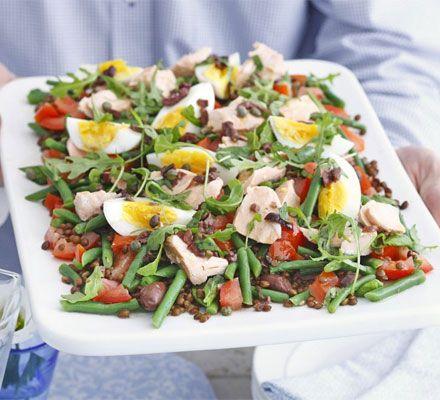Salmon & Puy lentil salad with olive dressing