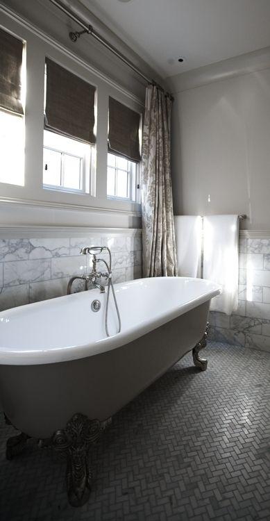 Grey Marble Bathroom : Grey marble bathroom & clawfoot tub.  Bathroom ideas  Pinterest