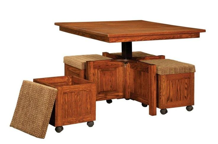 Amish mission hydraulic lift top square table and stool set for Square coffee table with stools