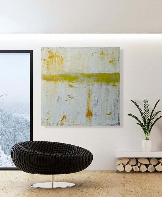 Large Contemporary Wall Art Modern Acrylic Painting 32x32 Hanging