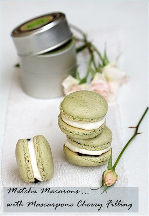 Macaron Recipe: Matcha Macarons with Preserved Brandied Cherries