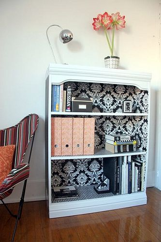 Wallpaper inside a bookshelf