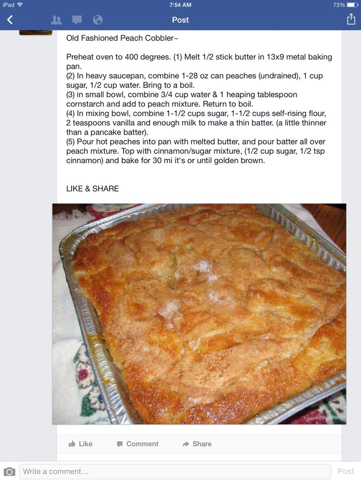Old Fashioned Peach Cobbler | Recipes | Pinterest