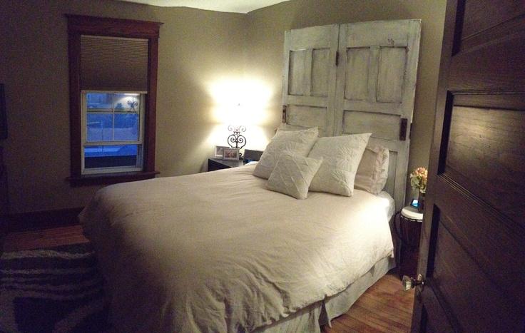 Turned Old Doors Into A Headboard Love Master Bedroom