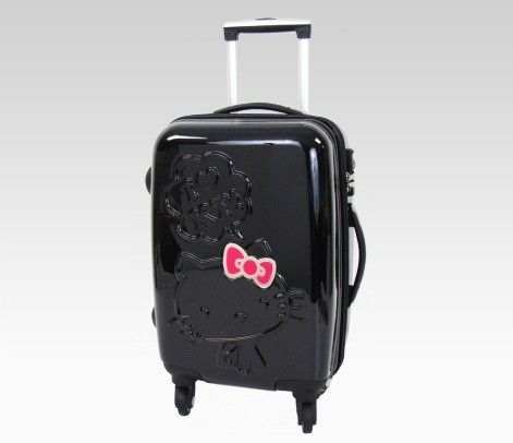 Hello Kitty Embossed Rolling Luggage Black